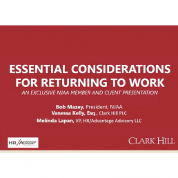 Essential considerations for returning to work webinar graphic