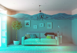 a living room completely flooded with water