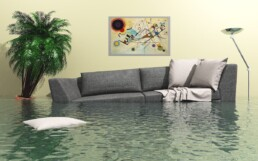 flooded living room with couch under water